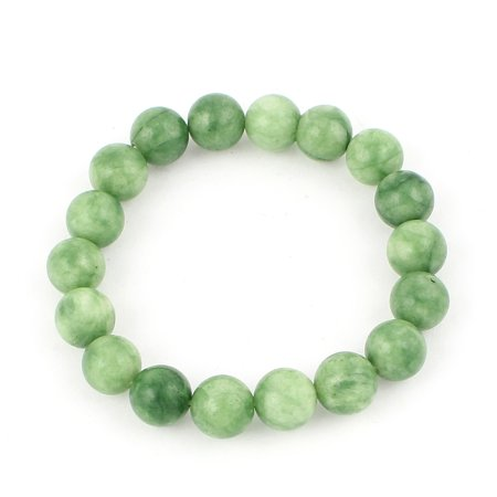Unique Bargains Lady Jewelry Round Faux Jade Beads Decor Elastic Wrist Bangle Bracelet Green Chinese Jade Beads Bangle