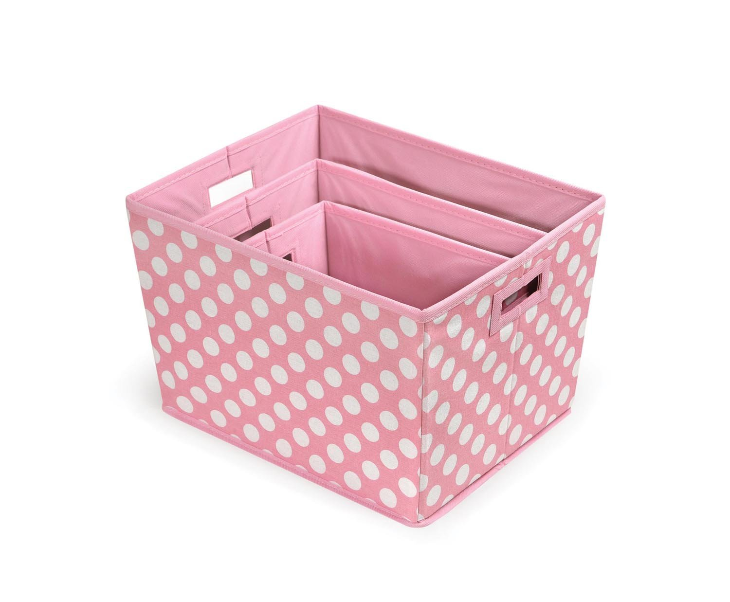 Badger Basket 3 Pack Polka Dot Nesting Trapezoid Folding Baskets, Pink by