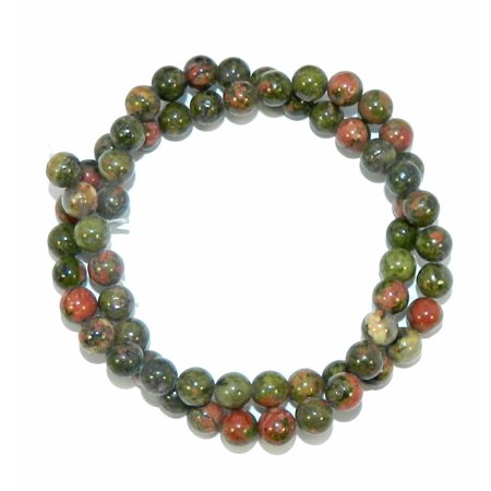 6mm Unakite Natural Round, Loose Beads, 40cm 15 inch Stone