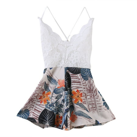 (Women's Sexy V Neck Floral Printed Spaghetti Strap Jumpsuit One Piece Backless Beach Romper Shorts Playsuit)