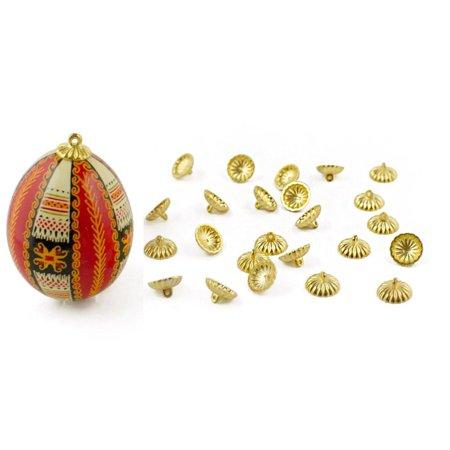 24 Gold Tone Ornament Caps - Egg Top Findings
