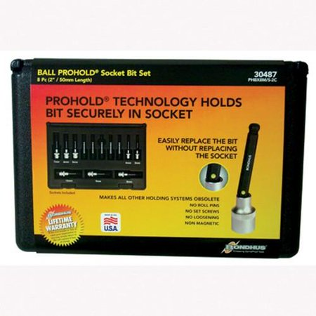 Bondhus 30487 Socket Ball End Bit Tool Set w/Sockets, 2