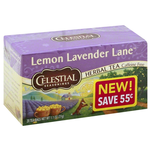 Celestial Seasonings Lemon Lavendar Lane Caffeine Free Herbal Tea, 20 tea bags, 1.1 oz