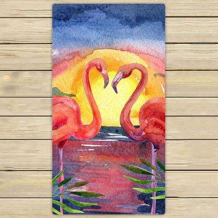 YKCG Tropical Sea Beach Palm Tree Sunset Pink Flamingo Hand Towel Beach Towels Bath Shower Towel Bath Wrap For Home Outdoor Travel Use 30x56 inches ()