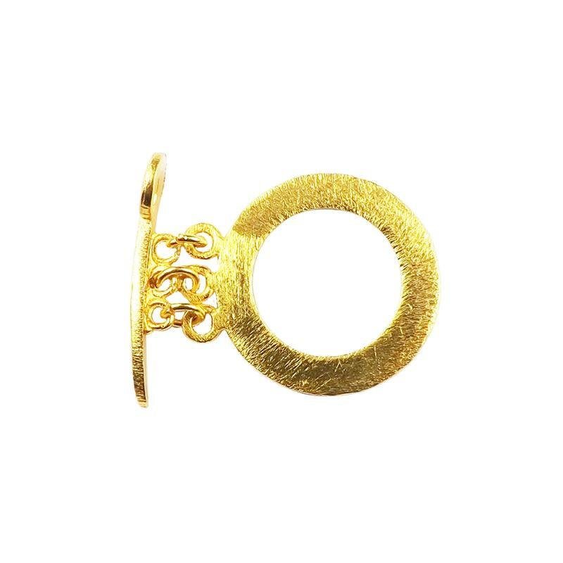 TG-182 18K Gold Overlay Simple Round Shape Brushed Chip Ring & Sword Shap Bar Toggle 26MM