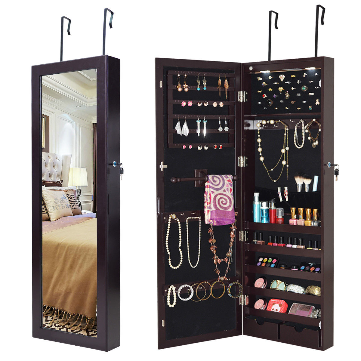 Costway Lockable Wall Mount Mirrored Jewelry Cabinet Organizer Armoire w  LED Lights by Costway