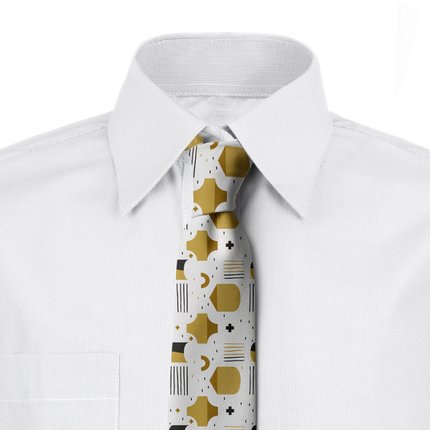 3.7 Charcoal Grey and White Monochrome Little Flowers Ambesonne Necktie