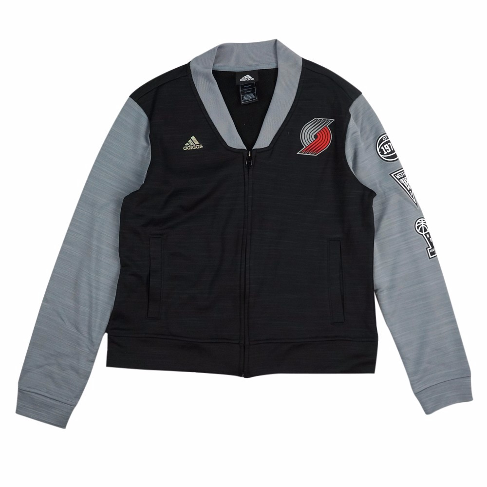 Portland Trail Blazers NBA Adidas Black On-Court Full Zip Track Jacket w  Patches Jacket For Women by Adidas