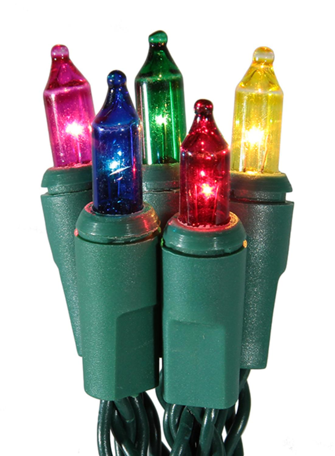 Set Of 20 Battery Operated Multi Color Mini Christmas Lights Green Wire