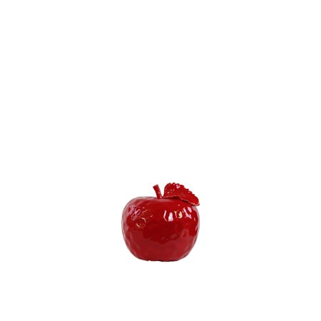 Ceramic Red Apple - Urban Trends Collection: Ceramic Apple Figurine Gloss Leaf Finish Red