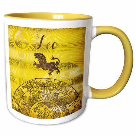 3dRose Leo Symbol Astrology Wheel Zodiac Sign Horoscope - Two Tone Yellow Mug,