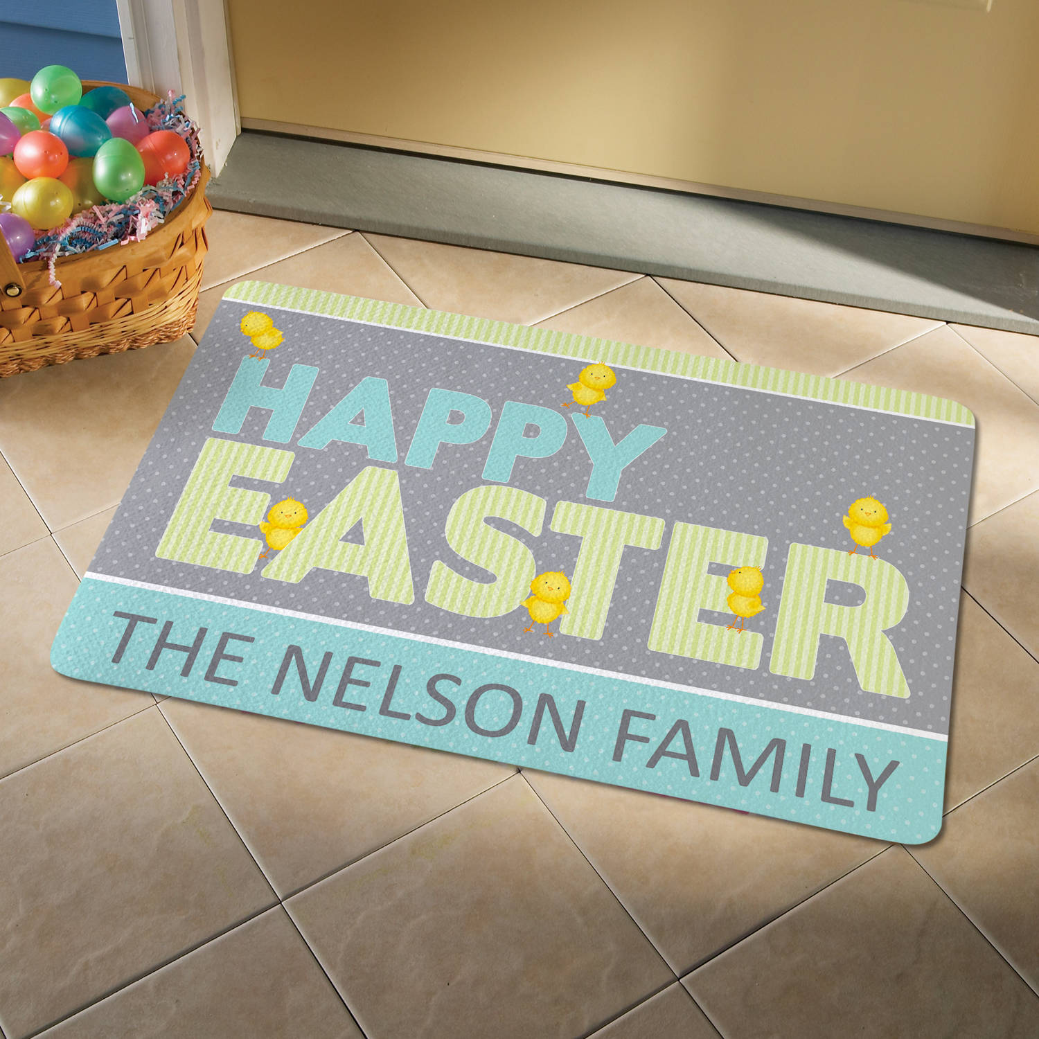 Personalized Happy Chicks Doormat