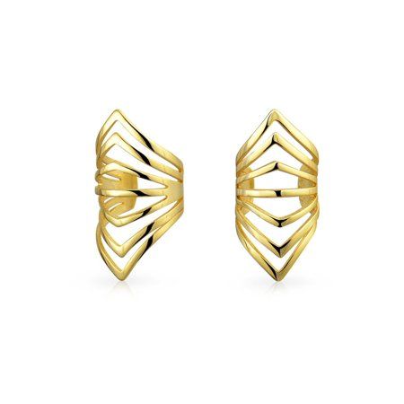 Minimalist Geometric Chevron Cartilage Ear Cuffs Clip Wrap Helix Non Pierced Earrings 14K Gold Plated Sterling (Best Place To Get Helix Pierced)