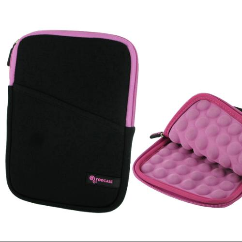 7-inch Universal Tablet Sleeve Pouch - roocase Super Bubble Neoprene Carrying Case Cover for iPad Mini 3 2 1, Kindle Fire HD 6 7, GALAXY Tab 3 / Tab 4 7.0 8.0, Google Nexus 7 2014, Pink