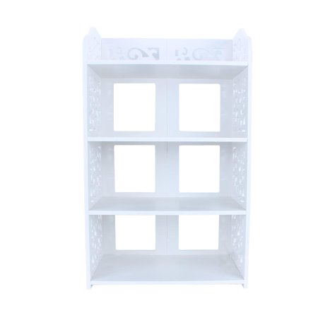 Qiilu 3/4/5 Tier White Freestanding Chic Hollow Out Shoe Rack Shoe Closet Baroque Storage Organizer Stand Shelf Holder Unit Shelves Easy Assembled ...
