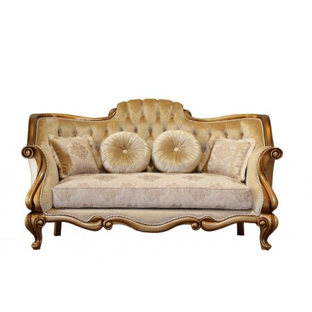 Luxury Gold & Bronze CARLOTTA Loveseat EUROPEAN FURNITURE Traditional Classic