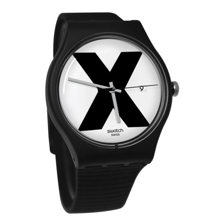 Swatch SUOB402 XX Rated Black White Analog Date Dial Silicone Band Watch