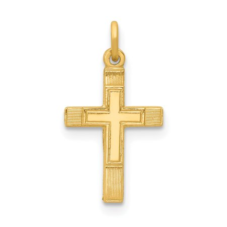 - 14k Yellow Gold Small Cross Religious Pendant Charm Necklace Latin For Women