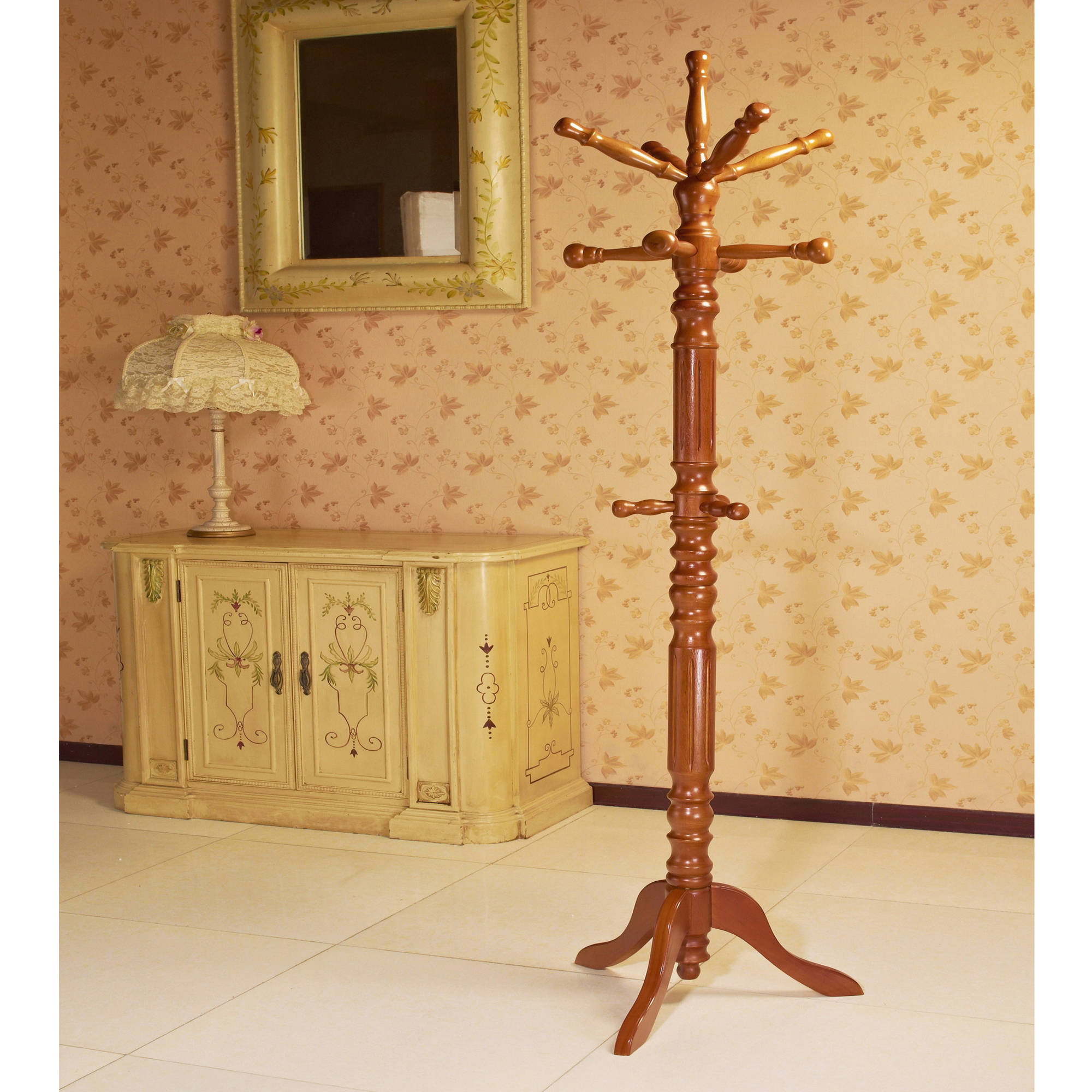 Home Craft Traditional Spinning Top Wooden Coat Rack, Oak