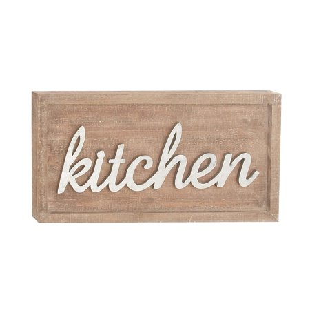 Decmode Farmhouse 12 X 24 Inch Rectangular Metal And Fir Wood Kitchen Wall Sign, Brown - Metal Signs Wholesale
