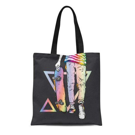 SIDONKU Canvas Bag Resuable Tote Grocery Shopping Bags Boy Skater in Jeans and Sneakers Skateboard Street Cultures Girl Tote Bag