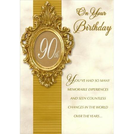 Greetings Frame (Designer Greetings Ornate Gold Foil Die Cut Window Frame Age 90 / 90th Birthday)