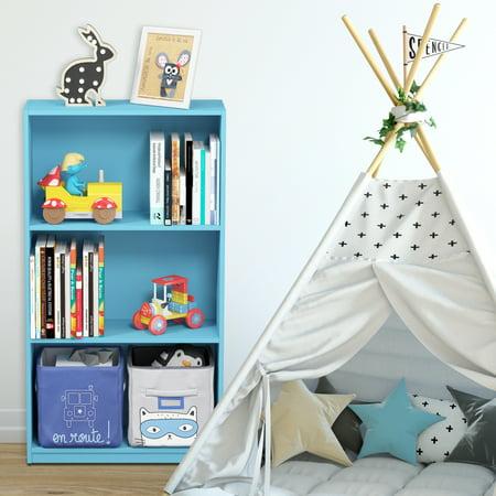 Furinno Basic 3-Tier Bookcase Storage Shelves, Light Blue