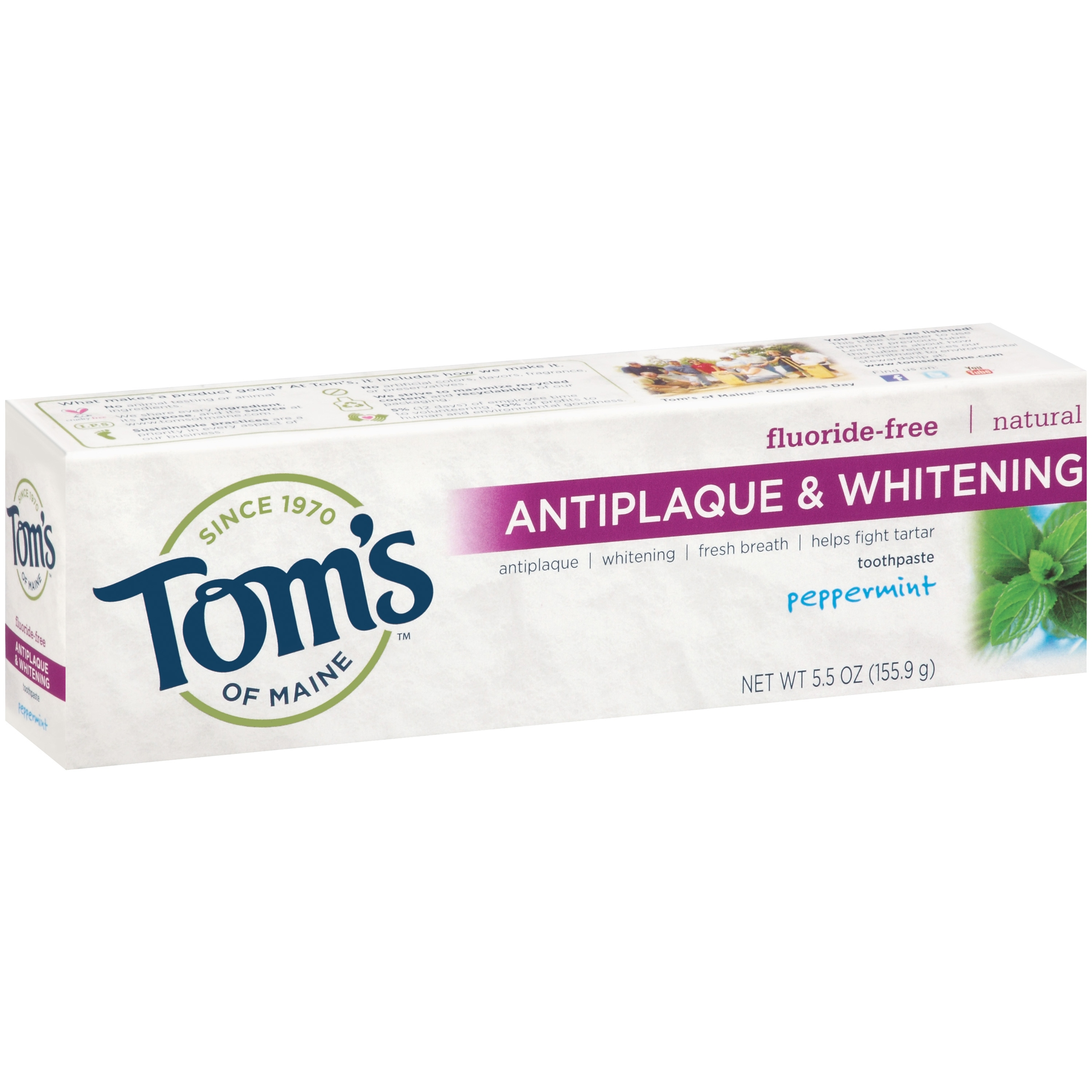 Toms of Maine Antiplaque and Whitening Toothpaste Peppermint 55