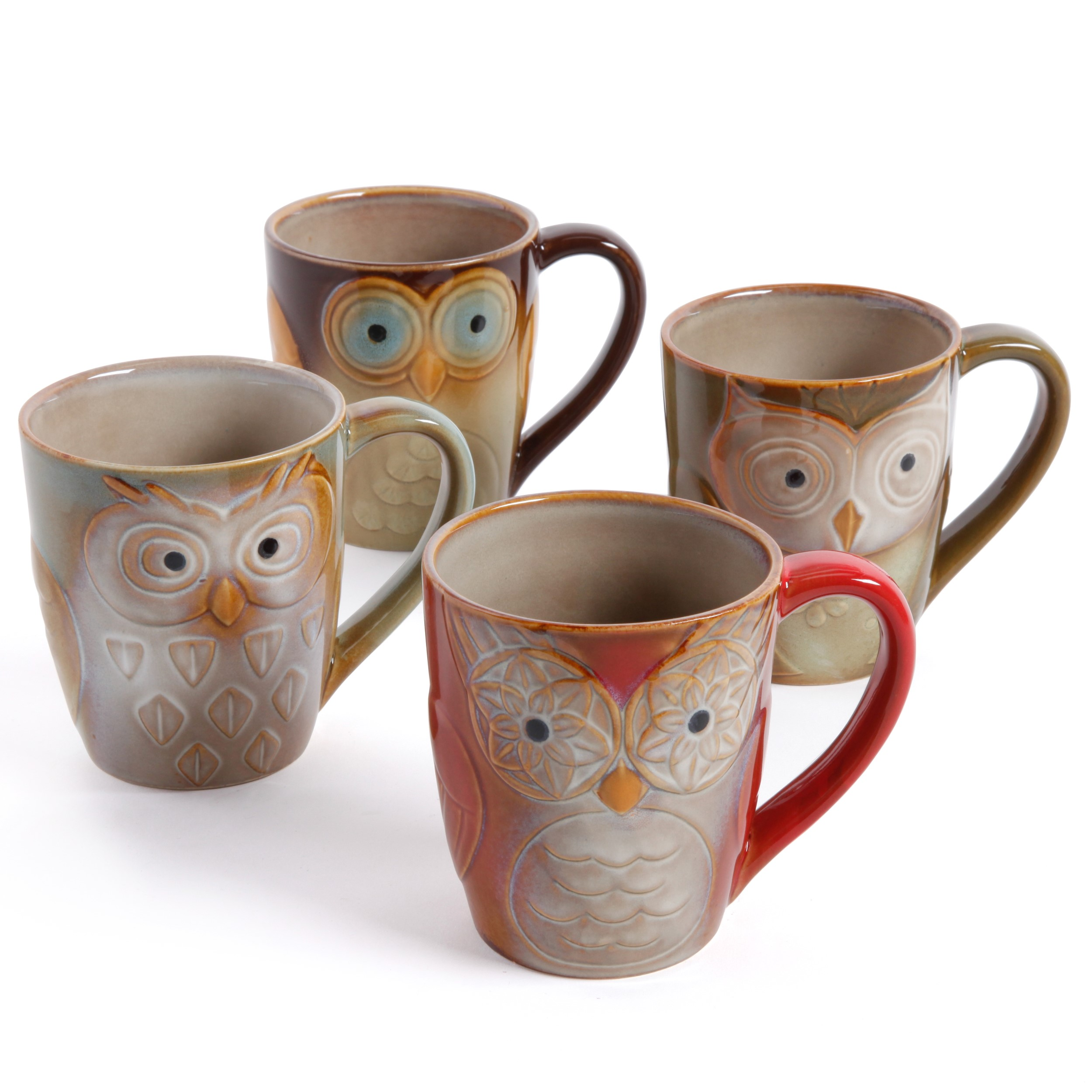 Gibson Home Night Owls 4-Piece Mug Set