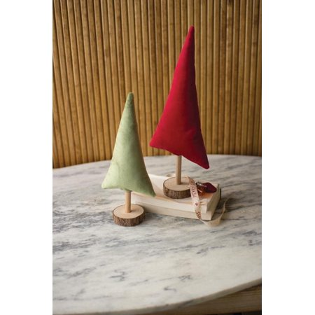 GwG Outlet Set Of Two Red And Green Velvet Christmas Trees CGL4118 ()