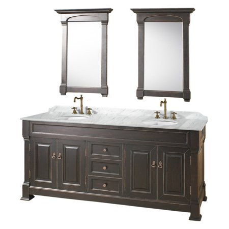 Wyndham Collection Andover 72 inch Double Bathroom Vanity in Black, White Carrera Marble Countertop,