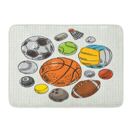 YUSDECOR Doodle Sketch Freehand Drawing Sport Balls Football Soccer Rug Doormat Bath Mat 23.6x15.7 inch - image 1 of 1