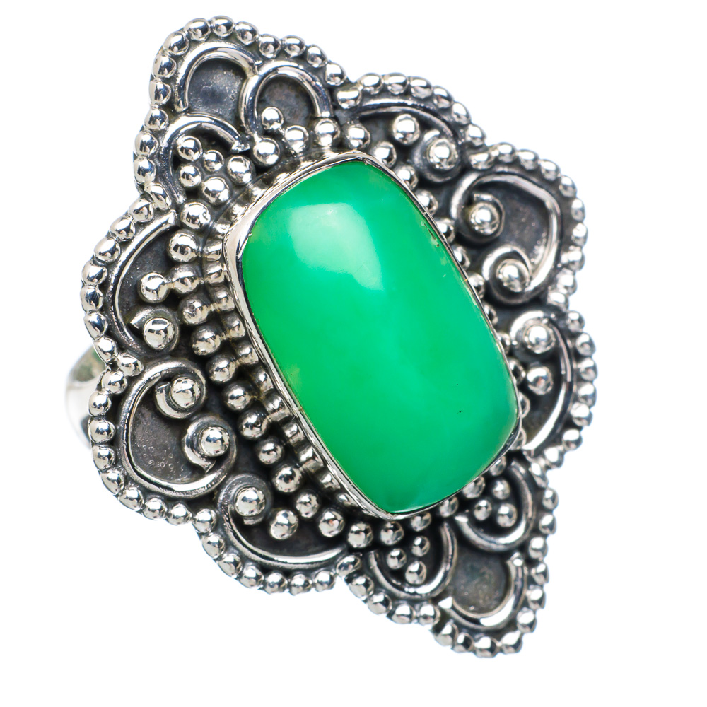 Ana Silver Co Large Chrysoprase Ring Size 6.75 (925 Sterling Silver) Handmade Jewelry RING891518 by Ana Silver Co.