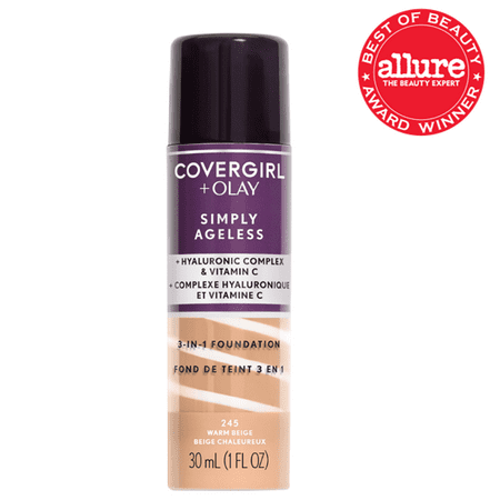COVERGIRL + OLAY Simply Ageless 3-in-1 Liquid Foundation, 245 Warm (Best Mac Foundation For Dry Combination Skin)