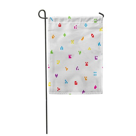 KDAGR Code Multicolor Abstract Pixelated Colorful Tileable in Minimalistic Pattern Garden Flag Decorative Flag House Banner 12x18 inch ()