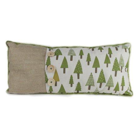 Northlight Woodland Forest Green Tree Print Lumbar Christmas Throw Pillow ()
