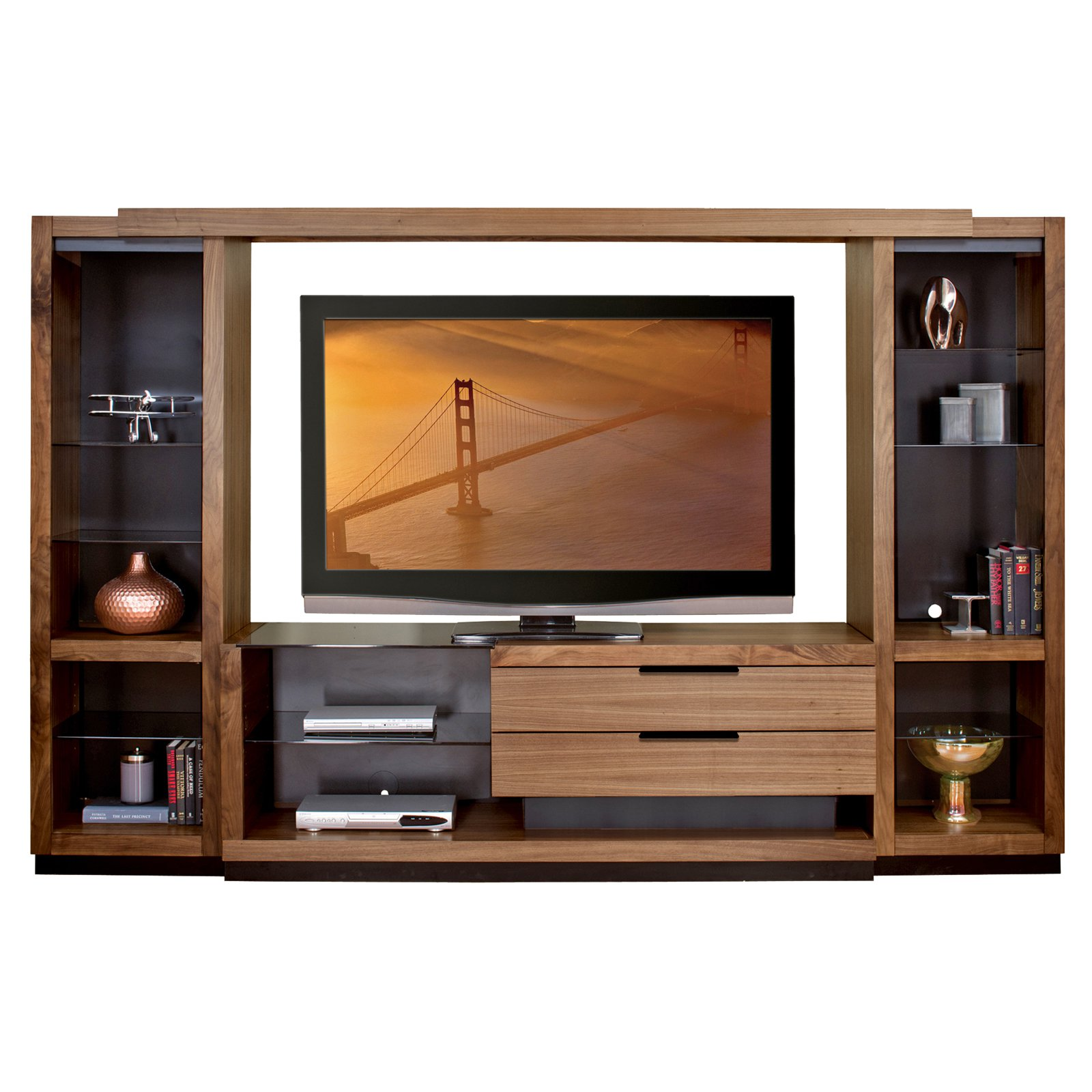 Entertainment Center With Open Pier By Martin Home Furnishings Walnut Finish