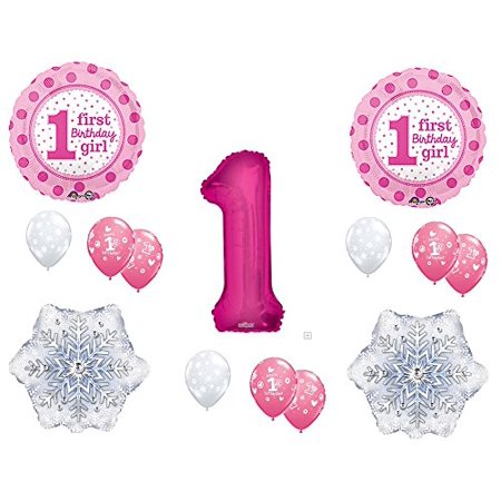 Girl's PINK WINTER ONE-DERLAND 1st Birthday party Balloons Decoration Supplies First Snow Wonderland - Winter Wonderland 1st Birthday Ideas
