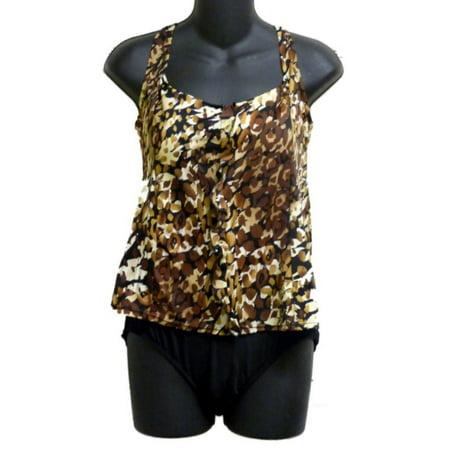cf63320d3 Tropical Escape - Tropical Escape Womens Brown Leopard Print 1 Piece  Swimsuit Blouson Swim Suit - Walmart.com