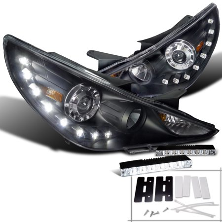 Spec-D Tuning For 2011-2014 Hyundai Sonata Black Smd Led Projector Headlights + 6-Led Bumper (Left+Right) 2011 2012 2013 - Hyundai Sonata Headlight Sonata