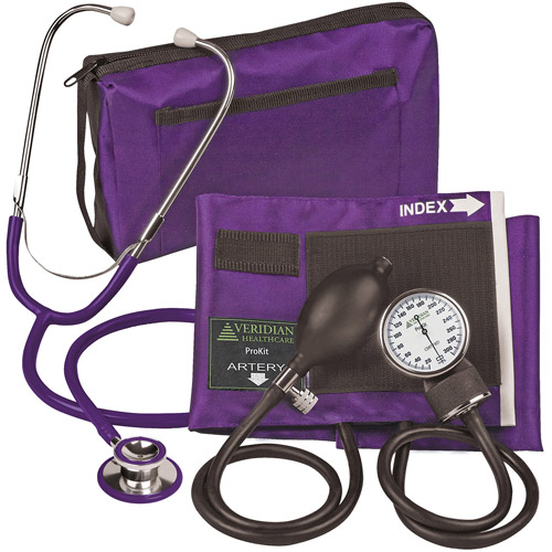 ProKit Aneroid Sphygmomanometer with Dual-Head Stethoscope, Adult, Purple