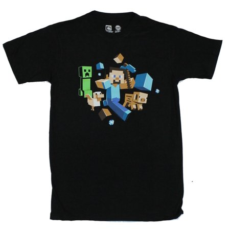 - Minecraft Mens T-Shirt  - Running Steve & Creeper with Animals in Tow