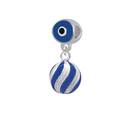 3-D Blue and Striped Ornament - Blue Evil Eye Charm Bead