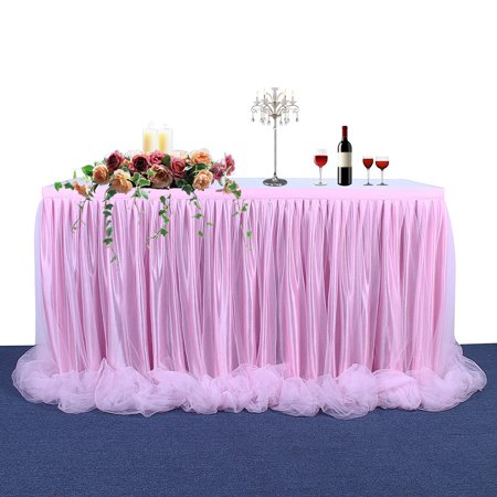 Threaded Ribbon Table Skirt with Tulle Elegant Party Wedding Table Decoration(Long Tulle) - image 1 de 6