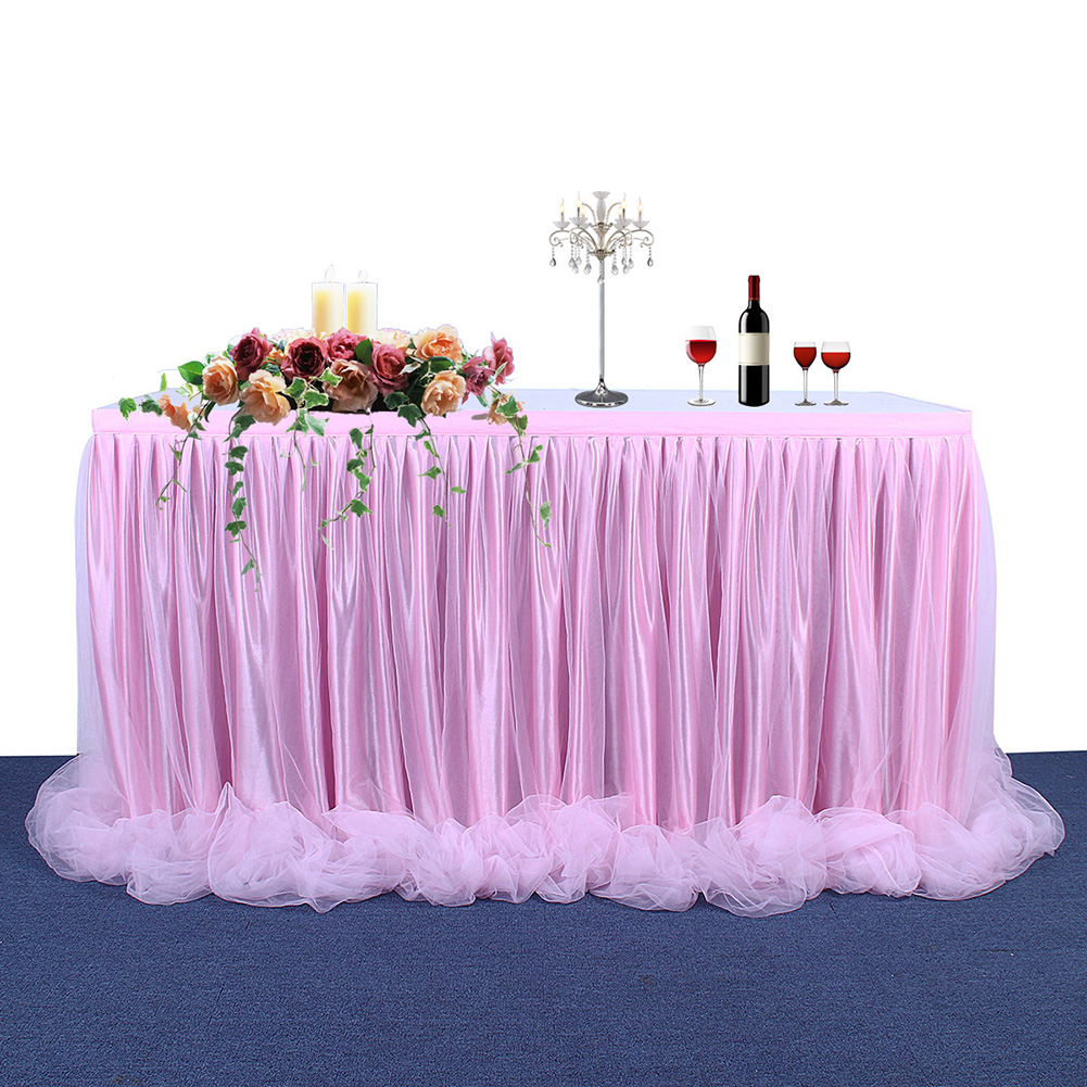 Threaded Ribbon Table Skirt with Tulle Elegant Party Wedding Table Decoration(Long Tulle) Color:Pink Size:6FT