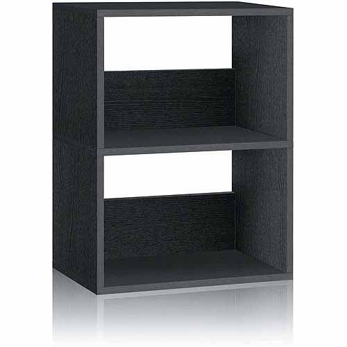 Way Basics Eco 2-Shelf Duplex Bookcase and Storage Shelf, Black