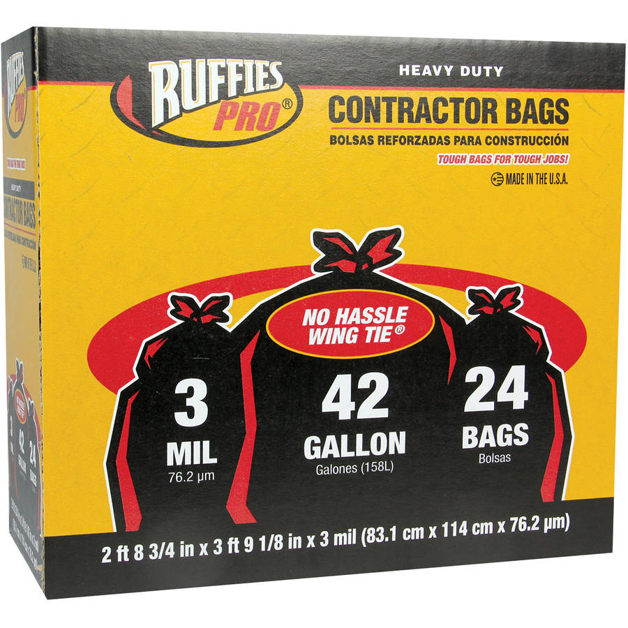 Ruffies Pro Heavy Duty Contractor Bags, 42 gal, 24 count
