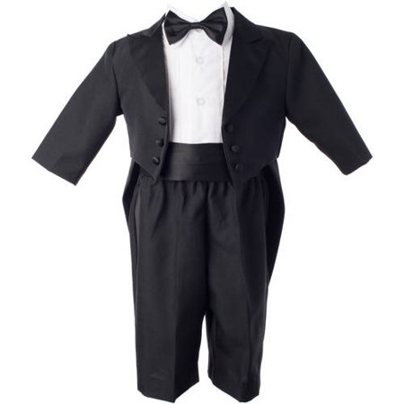 Christening Baptism Newborn Baby Boy Special Occasion Real 4 Pc Tuxedo Outfit Suit w/ Tails