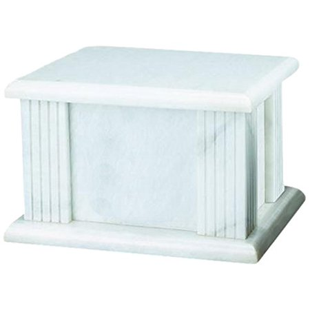 Elegante Beautifully Crafted Genuine Marble White Grain Cremation Urn