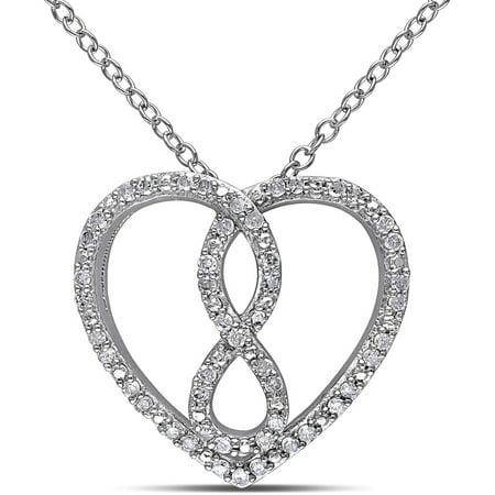 Miabella 1 4 Carat T W  Diamond Sterling Silver Infinity Heart Pendant  18